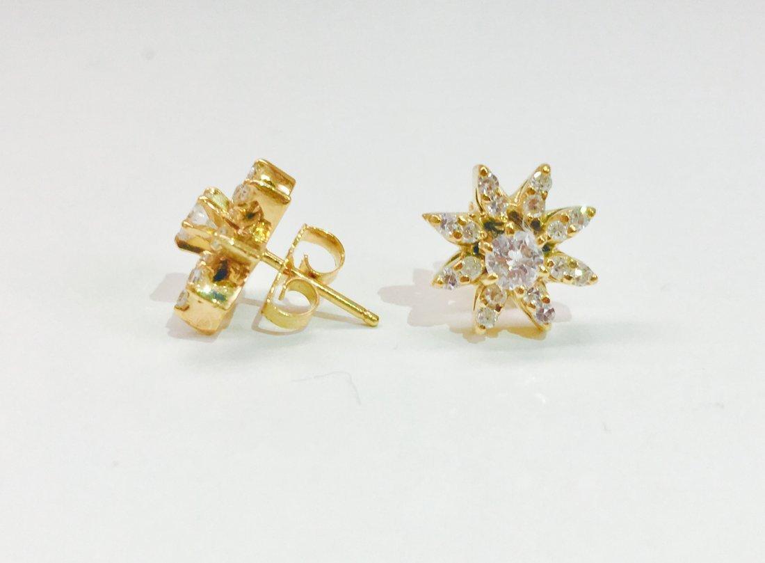 14K gold, 1.00 CT VS Clarity & G color Diamond Earrings - 2