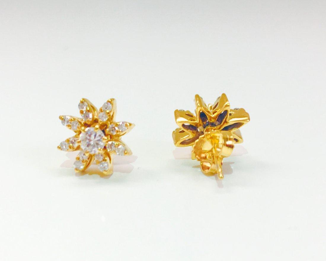 14K gold, 1.00 CT VS Clarity & G color Diamond Earrings - 3