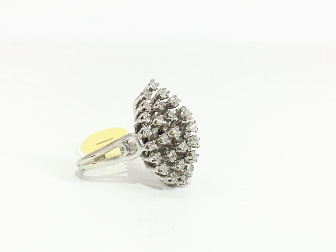 14k Gold & White Diamond Cocktail Ring - 2