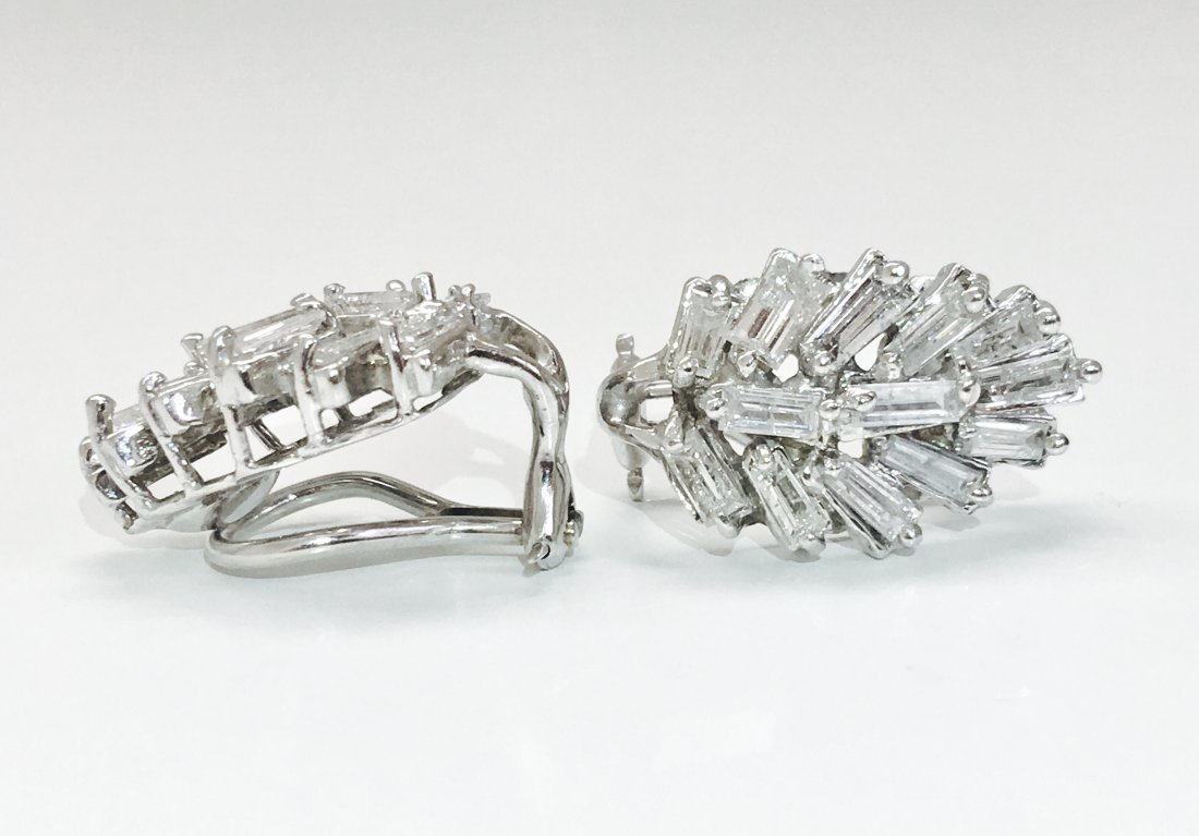 14K Gold, 4.20 Carat G color Diamond Earrings - 2