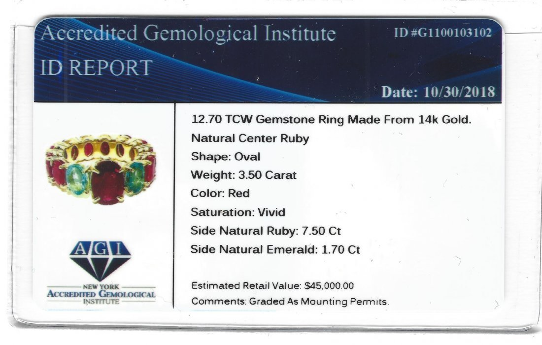 12.70 TCW ruby & emerald gemstone; 14k gold ring - 5