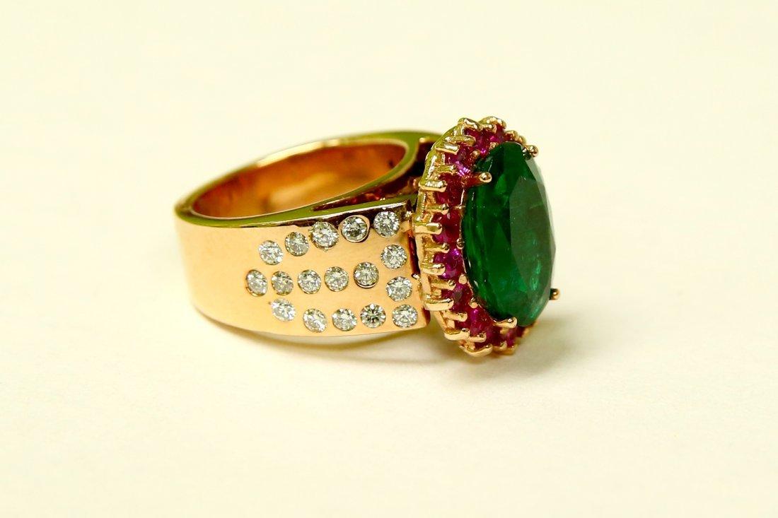 18K Rose Gold EMERALD RUBY AND DIAMOND RING (AGI) - 2