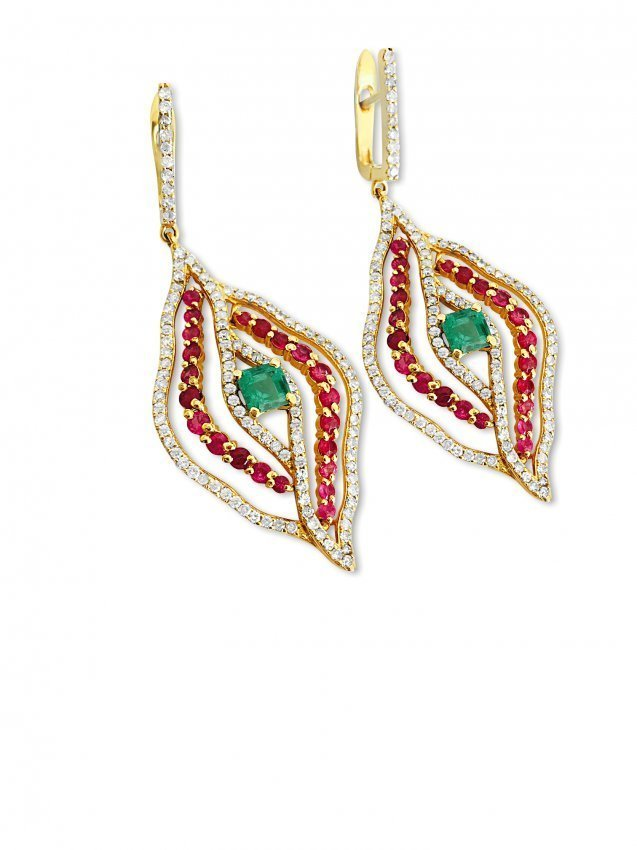 14k Gold 6 carat Diamond Emerald and Ruby Earrings - 2