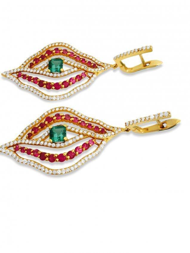 14k Gold 6 carat Diamond Emerald and Ruby Earrings - 3