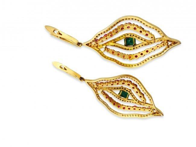 14k Gold 6 carat Diamond Emerald and Ruby Earrings - 4