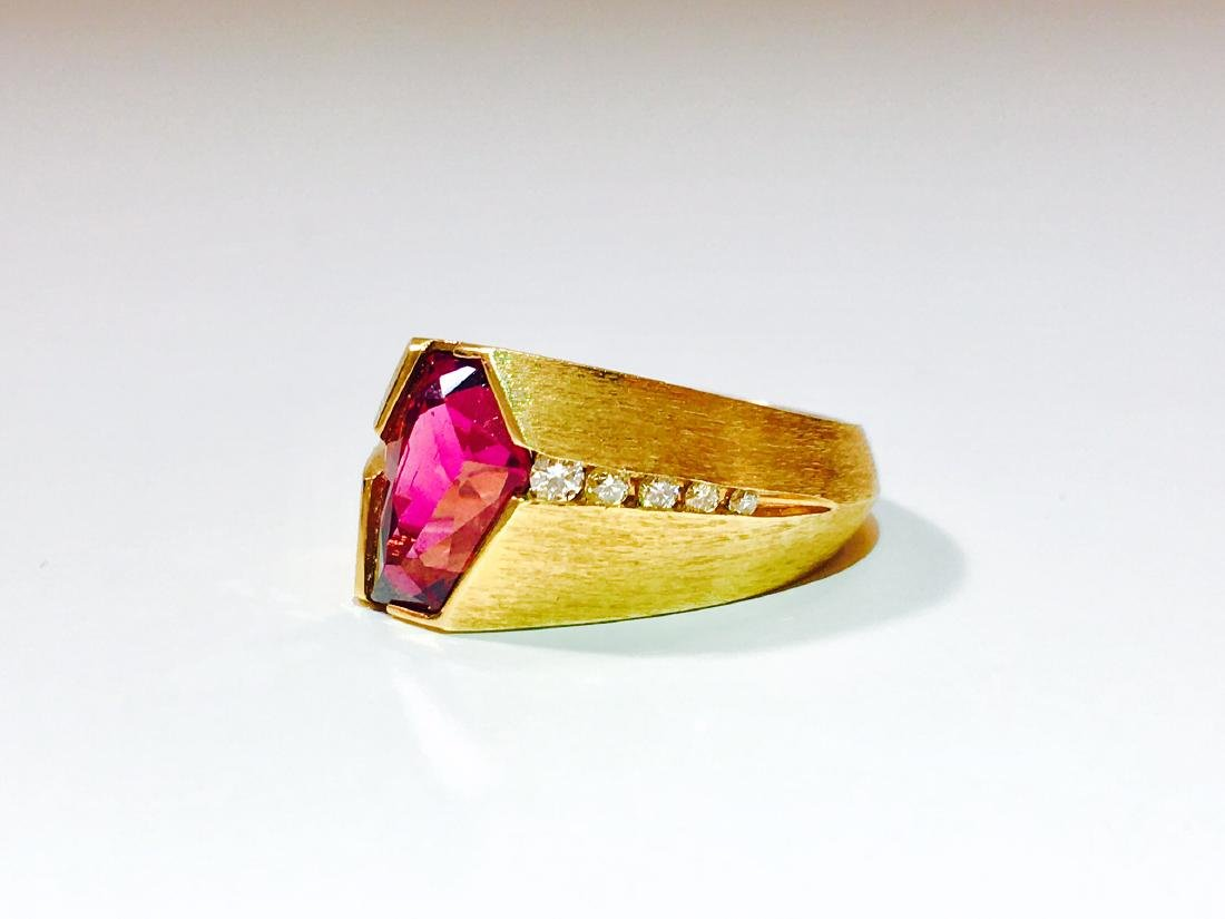 14K Yellow Gold, Fancy Cut Rubellite and Diamond Ring. - 2