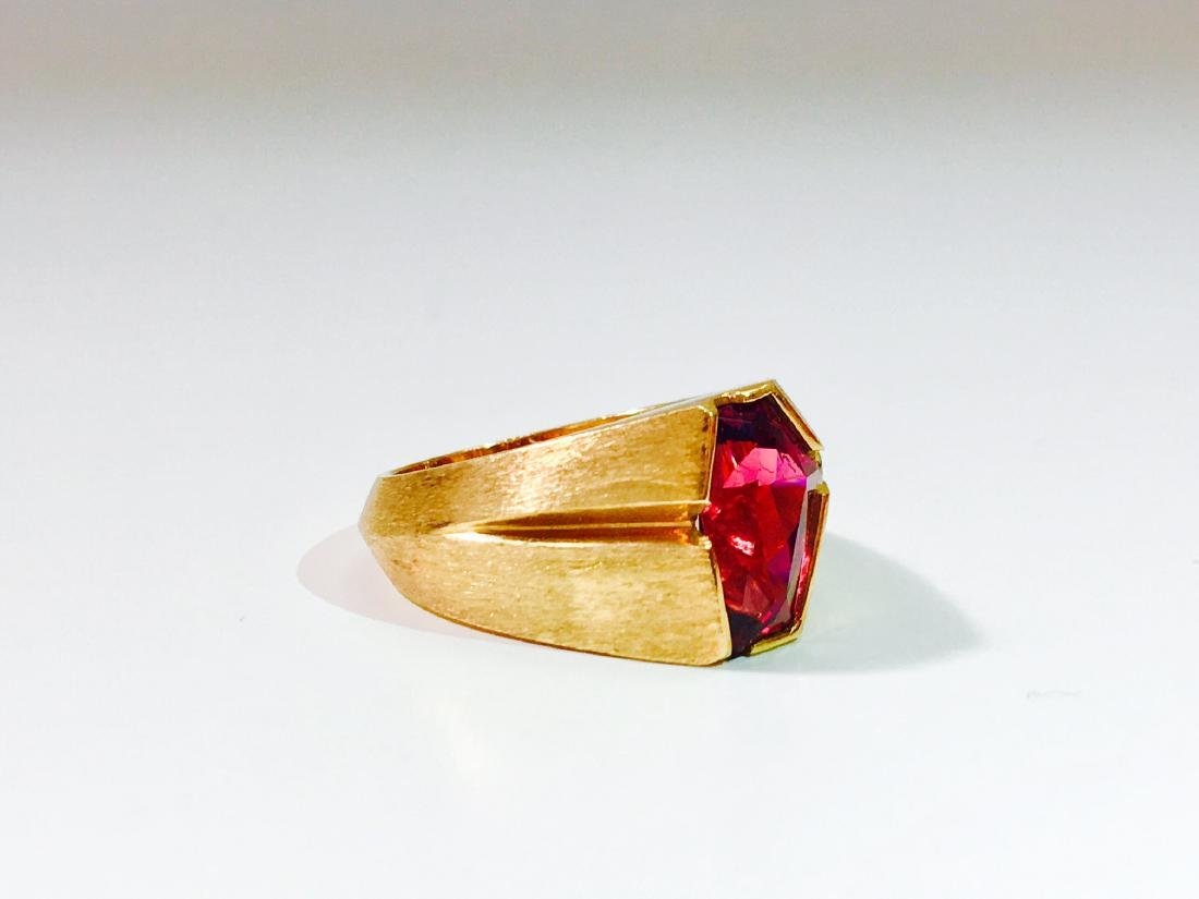 14K Yellow Gold, Fancy Cut Rubellite and Diamond Ring. - 3
