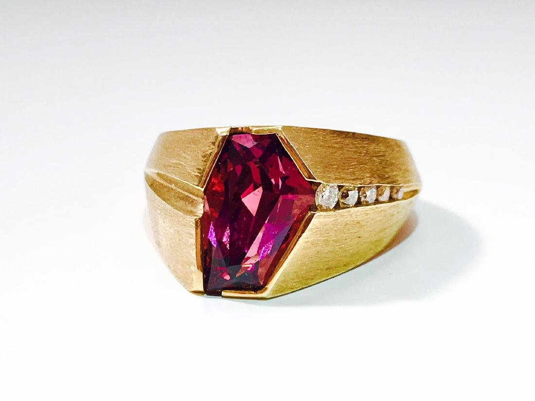 14K Yellow Gold, Fancy Cut Rubellite and Diamond Ring. - 5