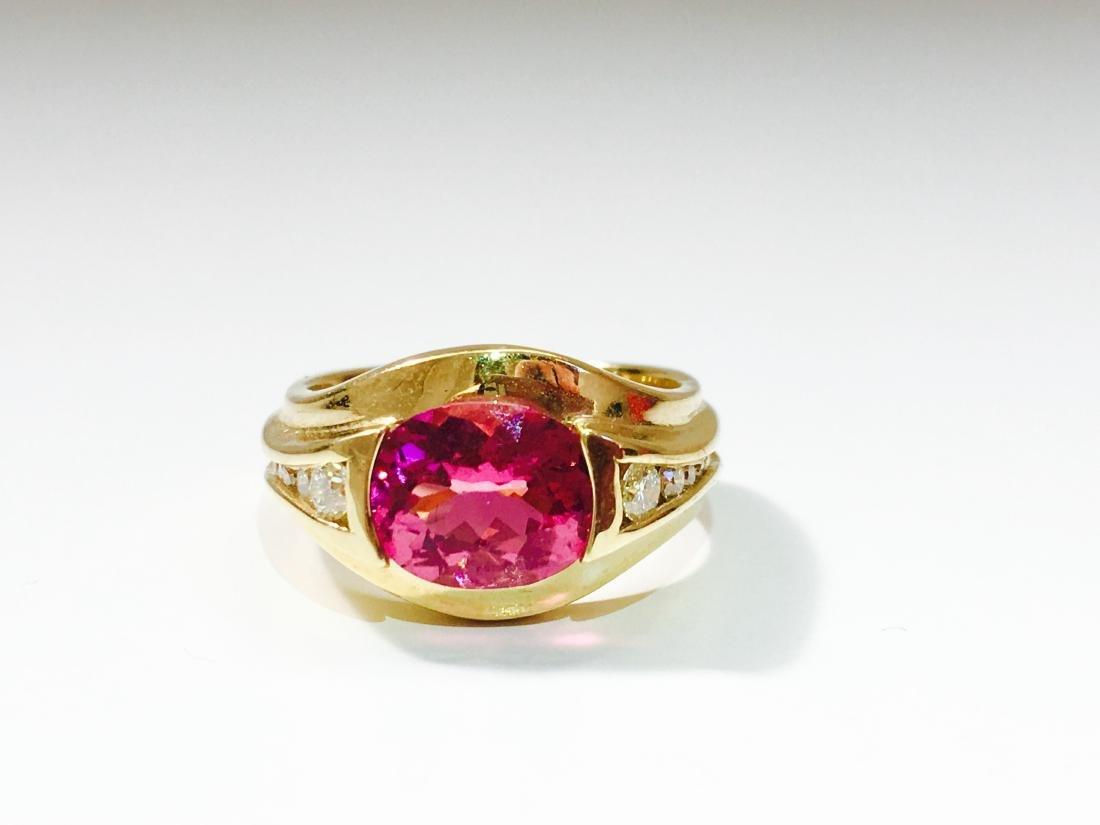 14k YELLOW GOLD; Pink Tourmaline And Diamond Ring