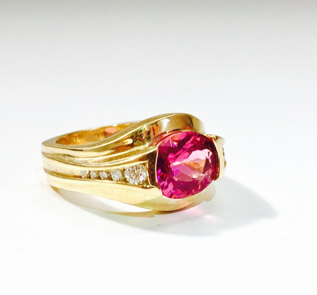 14k YELLOW GOLD; Pink Tourmaline And Diamond Ring - 2