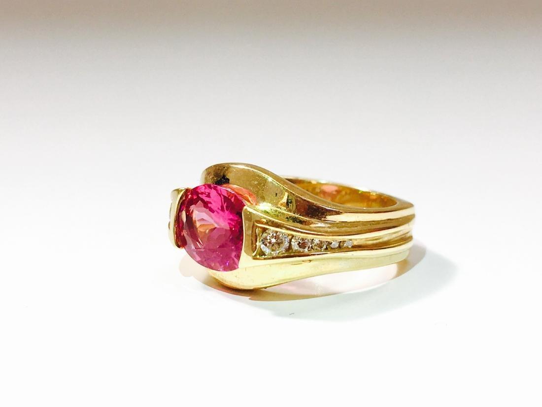 14k YELLOW GOLD; Pink Tourmaline And Diamond Ring - 3