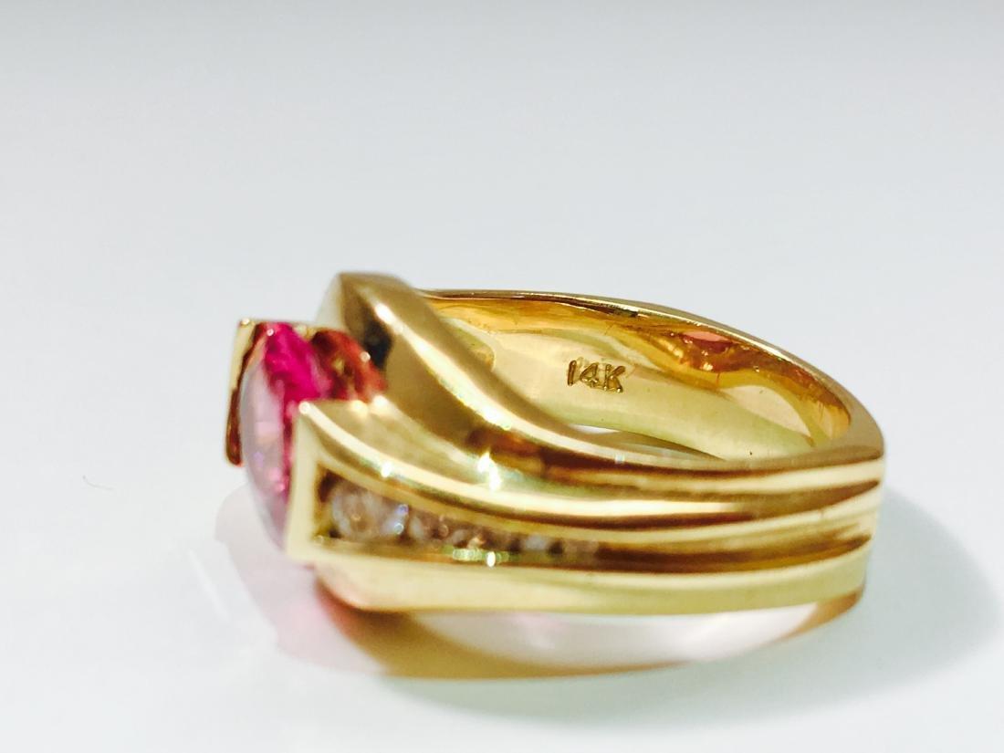 14k YELLOW GOLD; Pink Tourmaline And Diamond Ring - 4