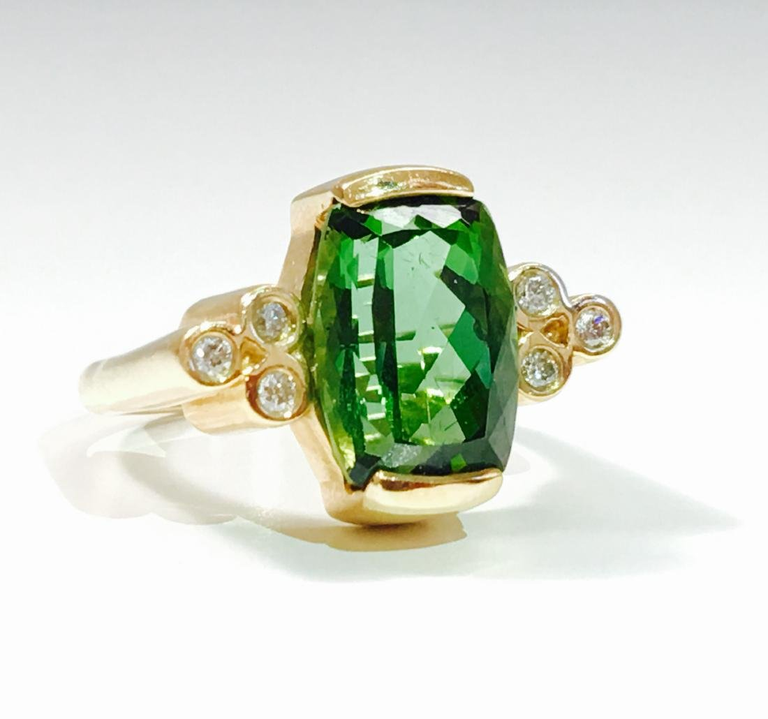 14K GOLD, 4.00 CT Green Tourmaline and Diamond Ring - 2