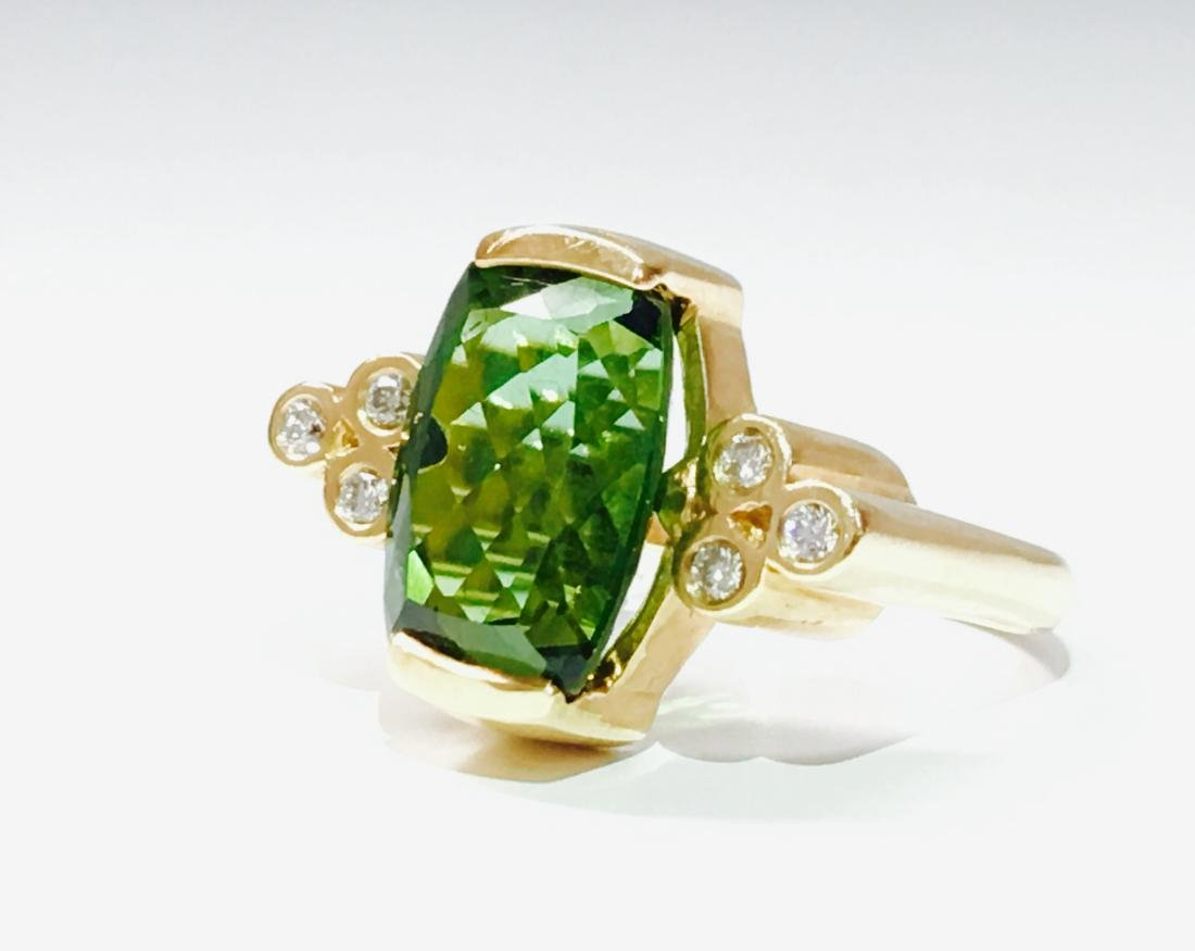 14K GOLD, 4.00 CT Green Tourmaline and Diamond Ring - 3