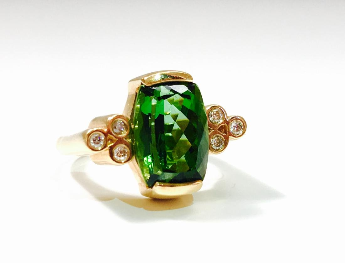 14K GOLD, 4.00 CT Green Tourmaline and Diamond Ring - 5