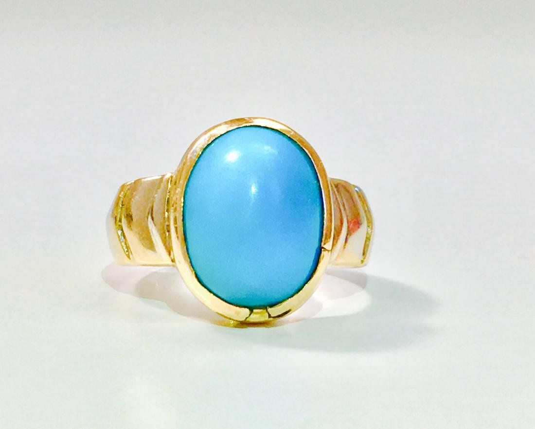 14K Yellow Gold, 6.00 Carat Turquoise Ring