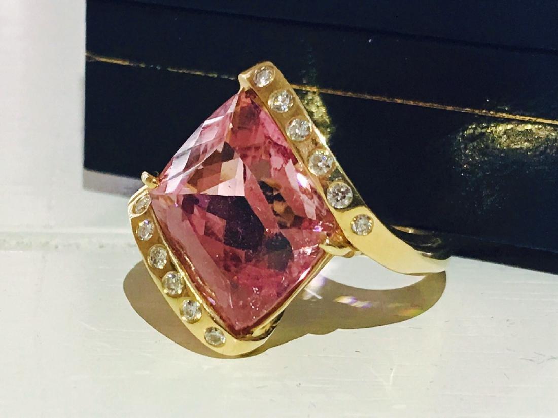 14k Gold Pink Tourmaline and Diamond Ring - 2