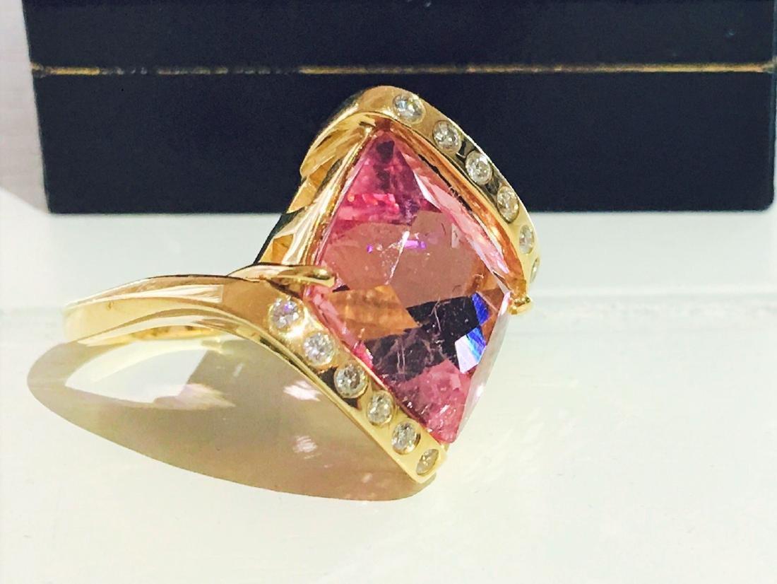 14k Gold Pink Tourmaline and Diamond Ring - 3