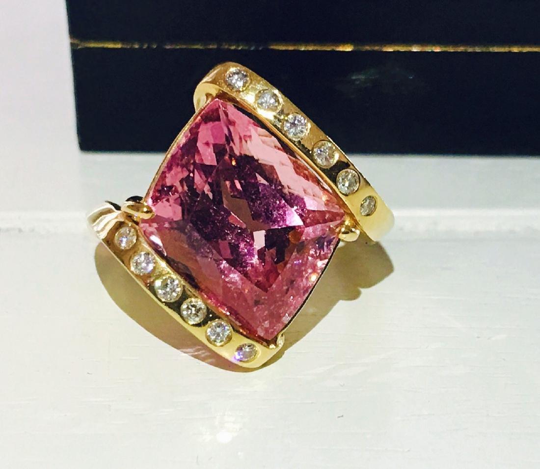14k Gold Pink Tourmaline and Diamond Ring - 4
