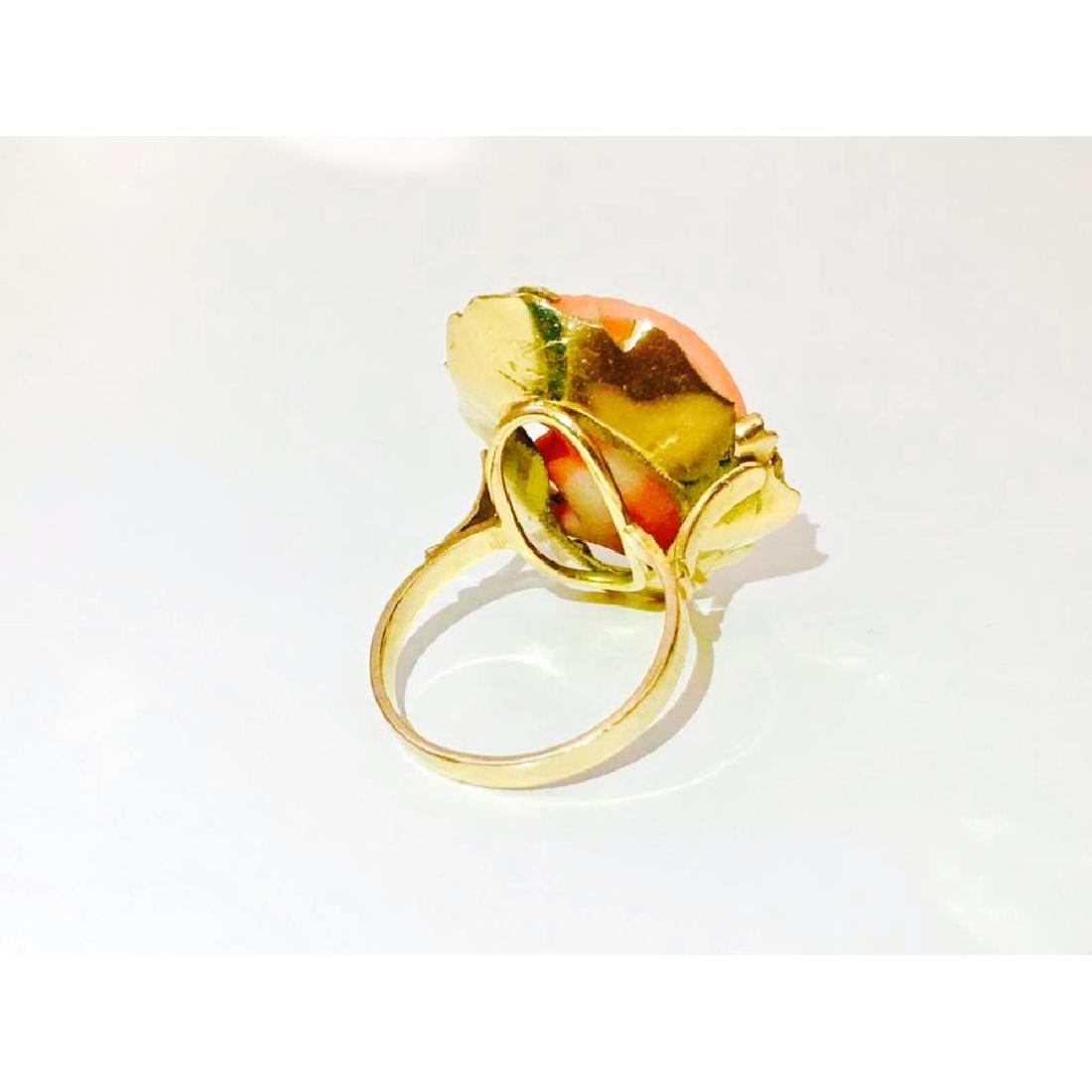 14K Yellow Gold and Coral Cameo Ring - 4