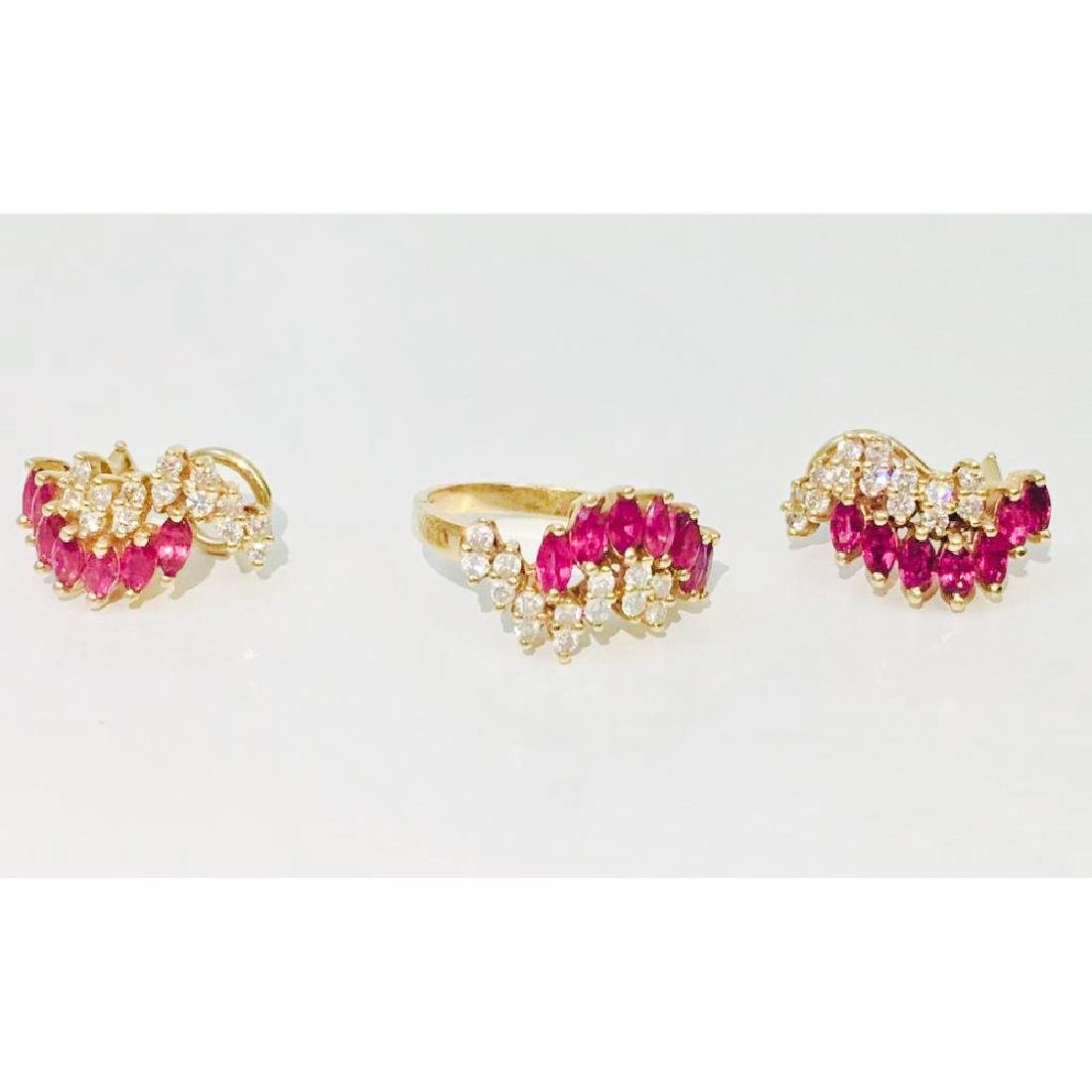 14K gold. 2.4 ct Ruby and Diamond Earrings & Ring set