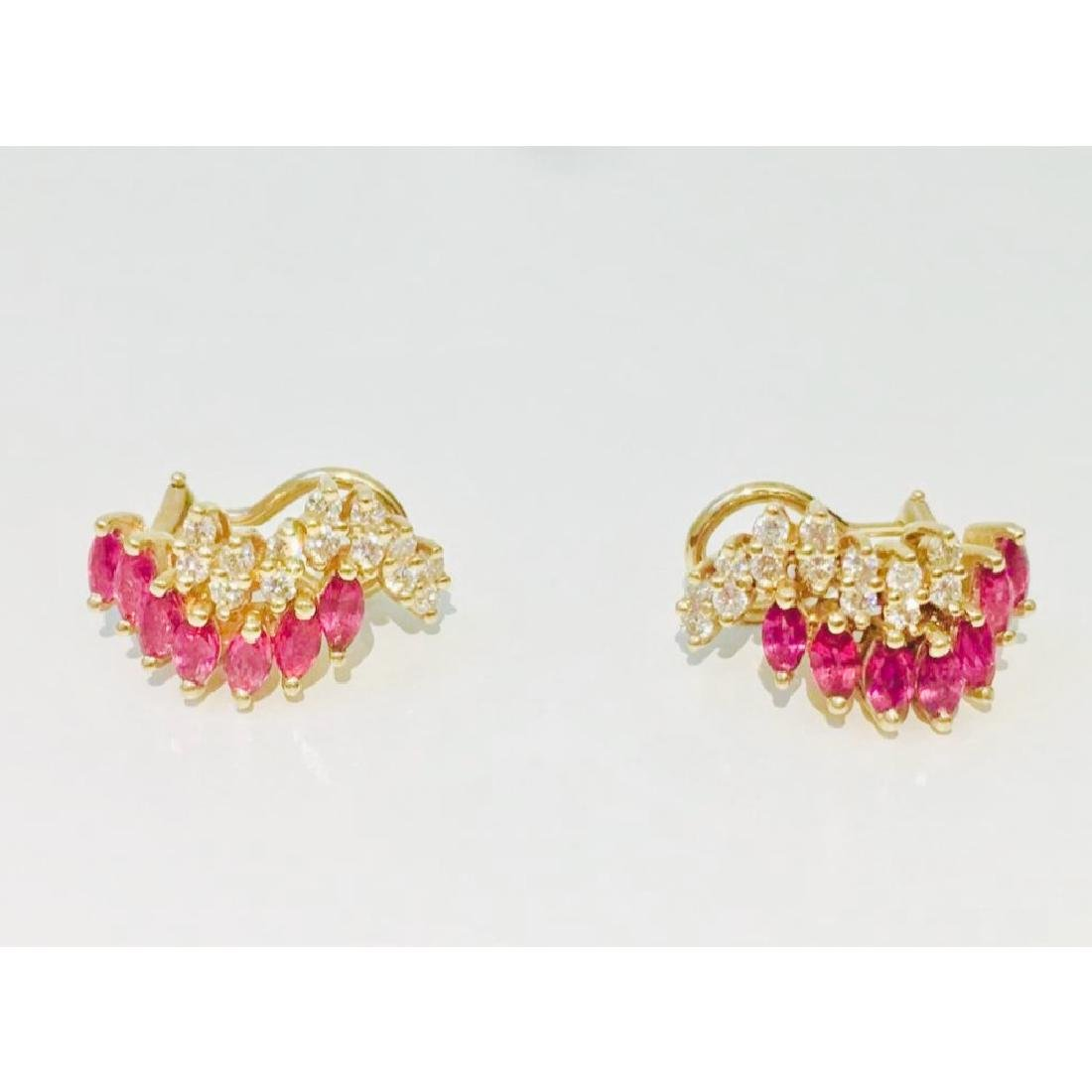14K gold. 2.4 ct Ruby and Diamond Earrings & Ring set - 3