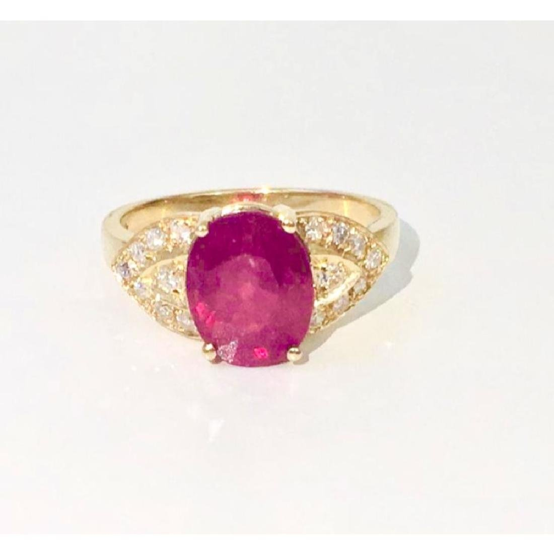 14K Gold, 4.50 CT Ruby and Diamond Ring