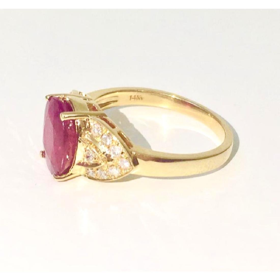 14K Gold, 4.50 CT Ruby and Diamond Ring - 2