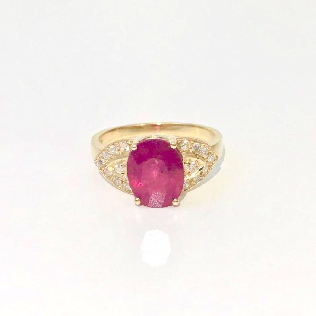 14K Gold, 4.50 CT Ruby and Diamond Ring - 3