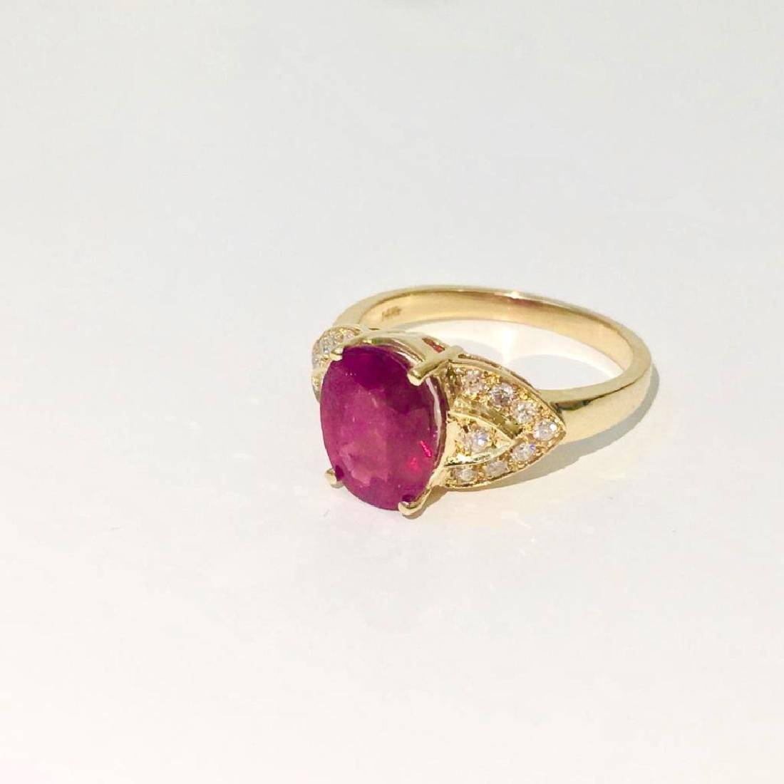 14K Gold, 4.50 CT Ruby and Diamond Ring - 4