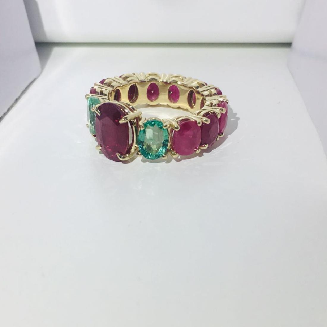 12.70 TCW ruby & emerald gemstone; 14k gold ring - 2