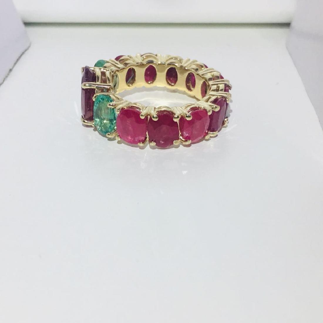 12.70 TCW ruby & emerald gemstone; 14k gold ring - 4