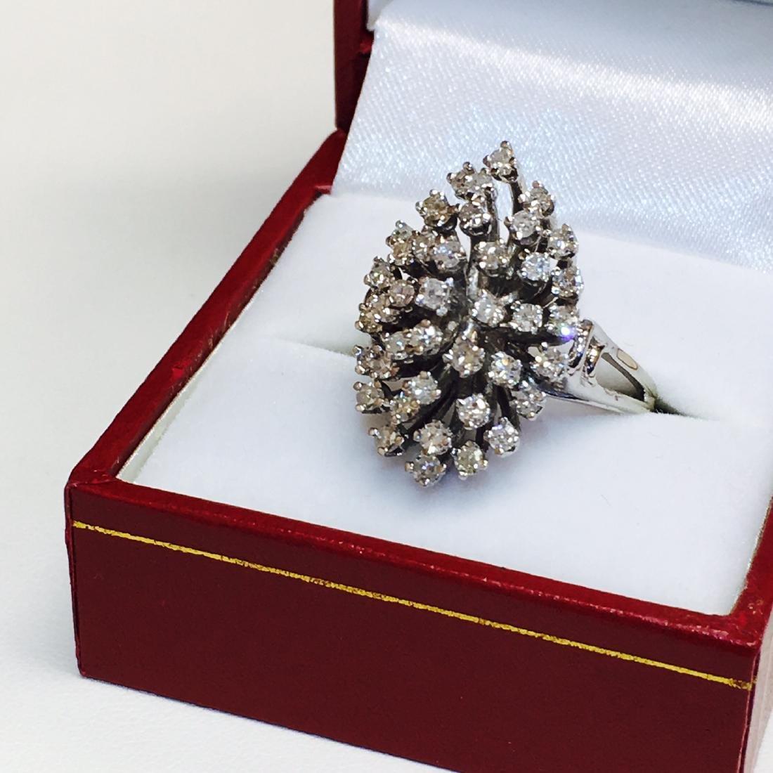 14k Gold & White Diamond Cocktail Ring - 4