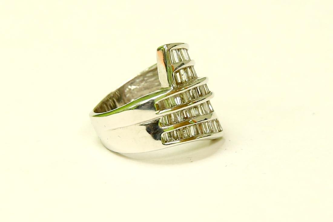 14K White Gold and Baguette Diamond Cocktail Ring - 3
