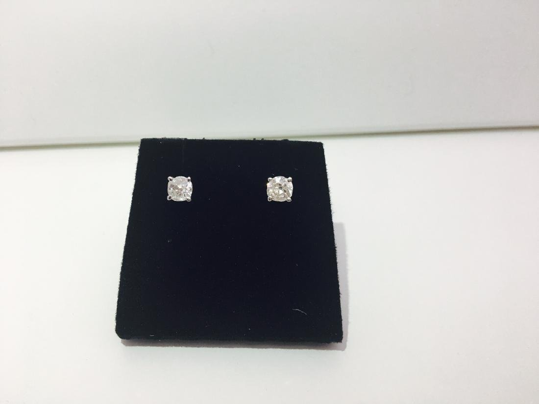 14K white gold, 0.80 Ct old mine diamond earrings/stud - 2