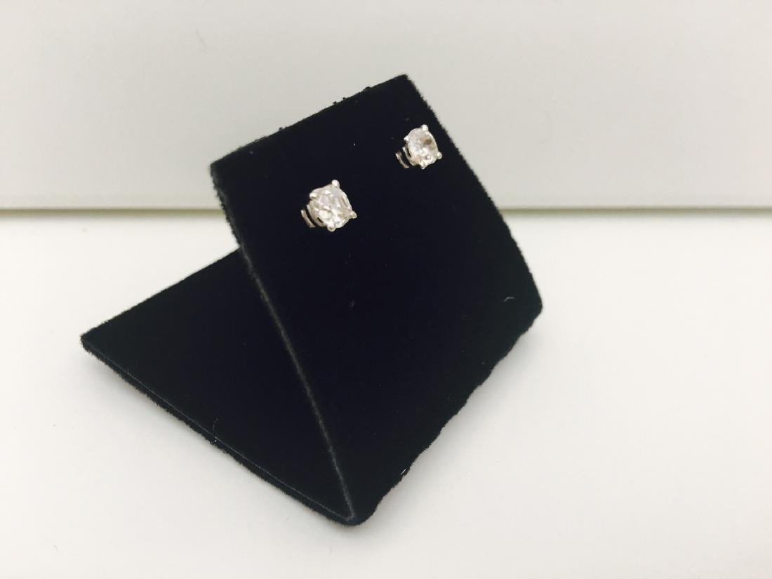 14K white gold, 0.80 Ct old mine diamond earrings/stud - 5