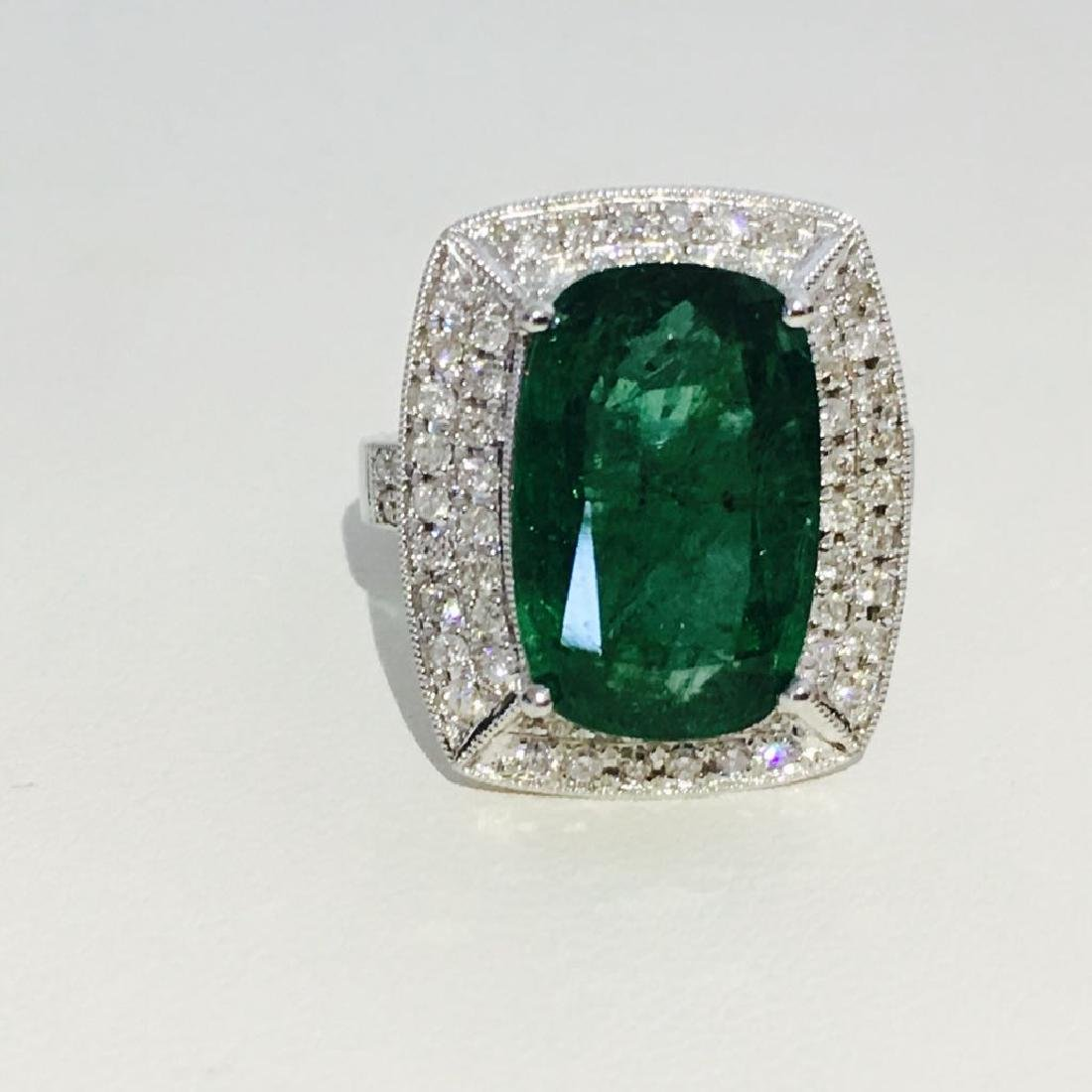 14K Gold, 100% natural 7.25 CT Emerald and Diamond Ring