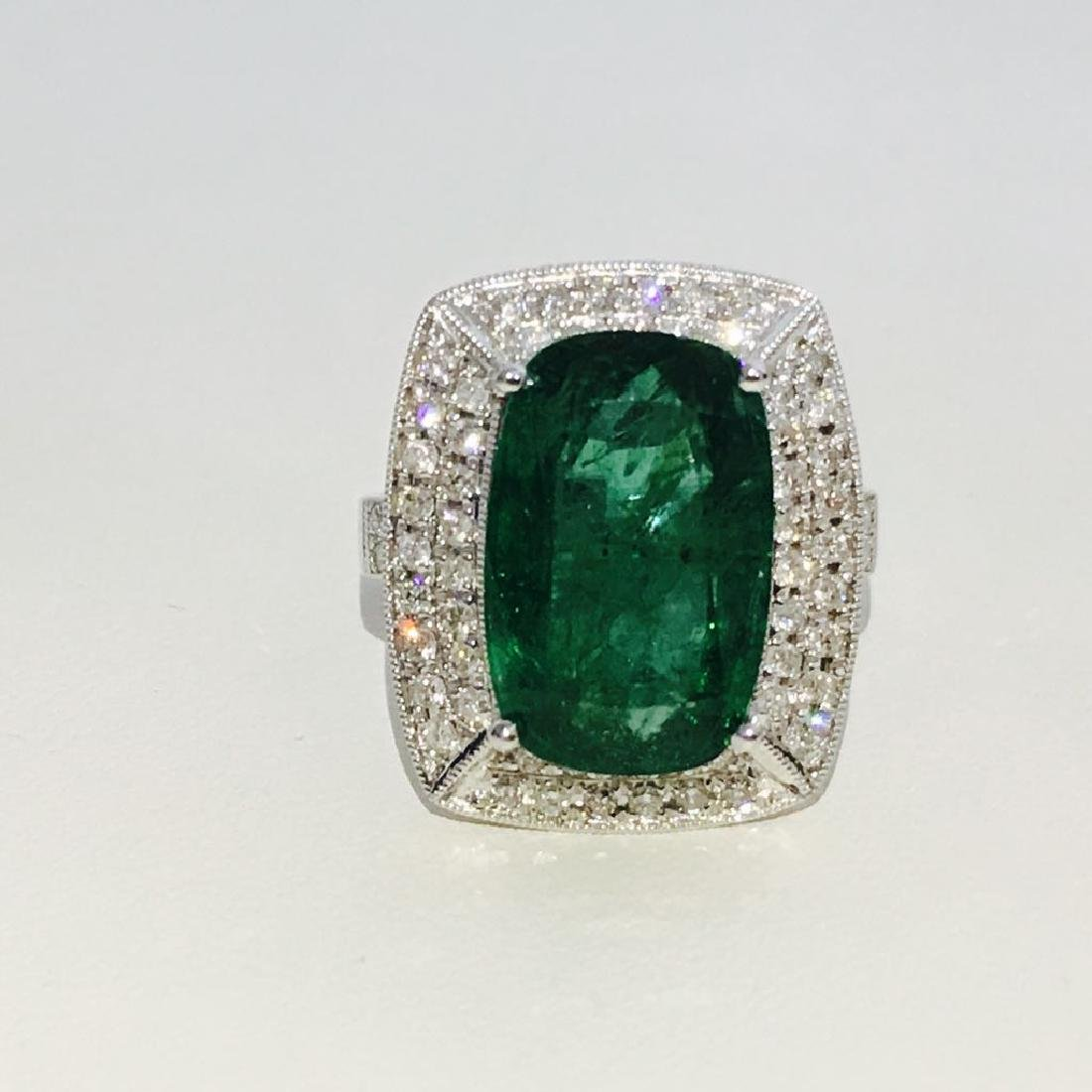 14K Gold, 100% natural 7.25 CT Emerald and Diamond Ring - 5