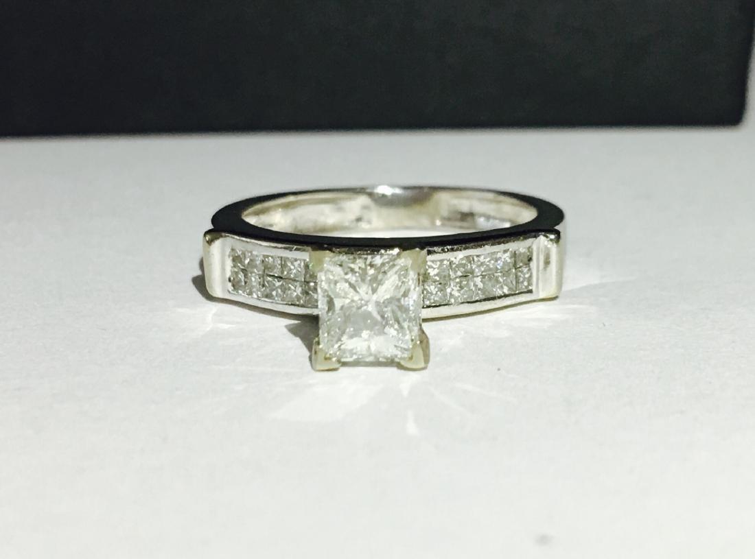 14k White Gold Princess Cut Diamond Ring - 3
