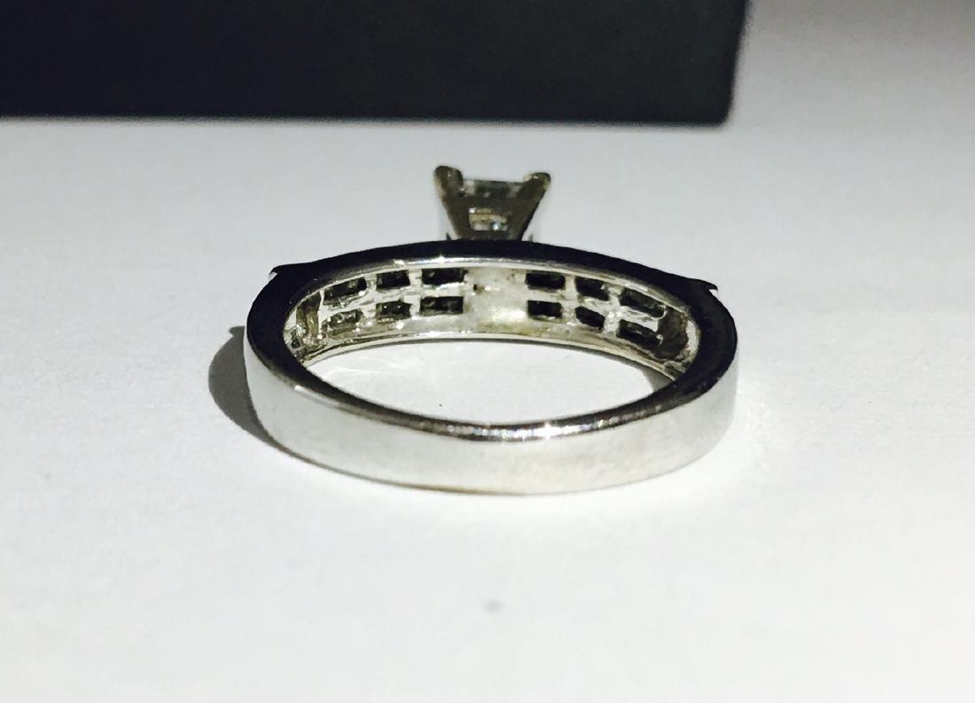 14k White Gold Princess Cut Diamond Ring - 4