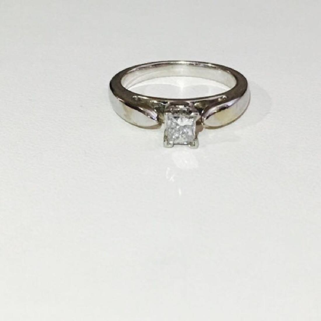 14k White Gold Princess Cut Diamond Engagement Ring - 2