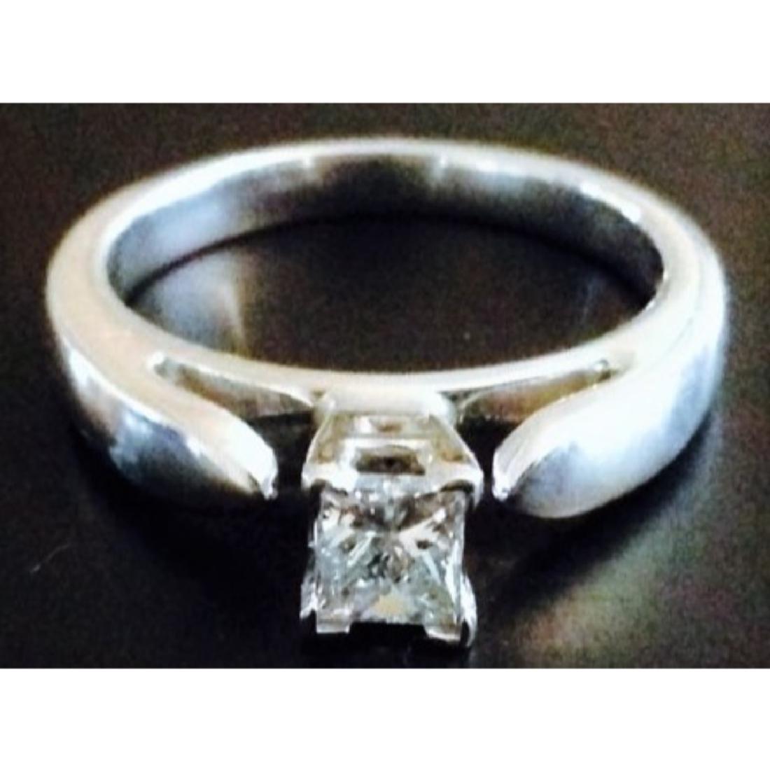 14k White Gold Princess Cut Diamond Engagement Ring - 4