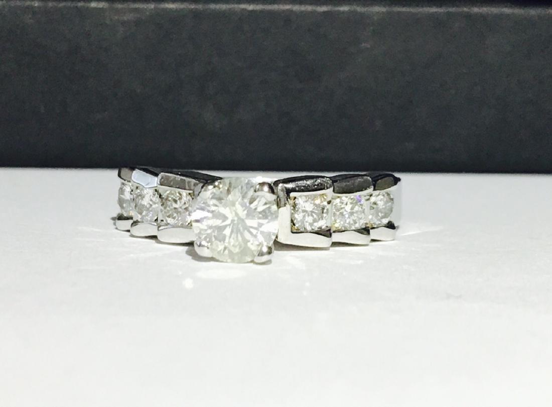 14K White Gold. 1.20 ct Diamond Steps Ring. US HALLMARK