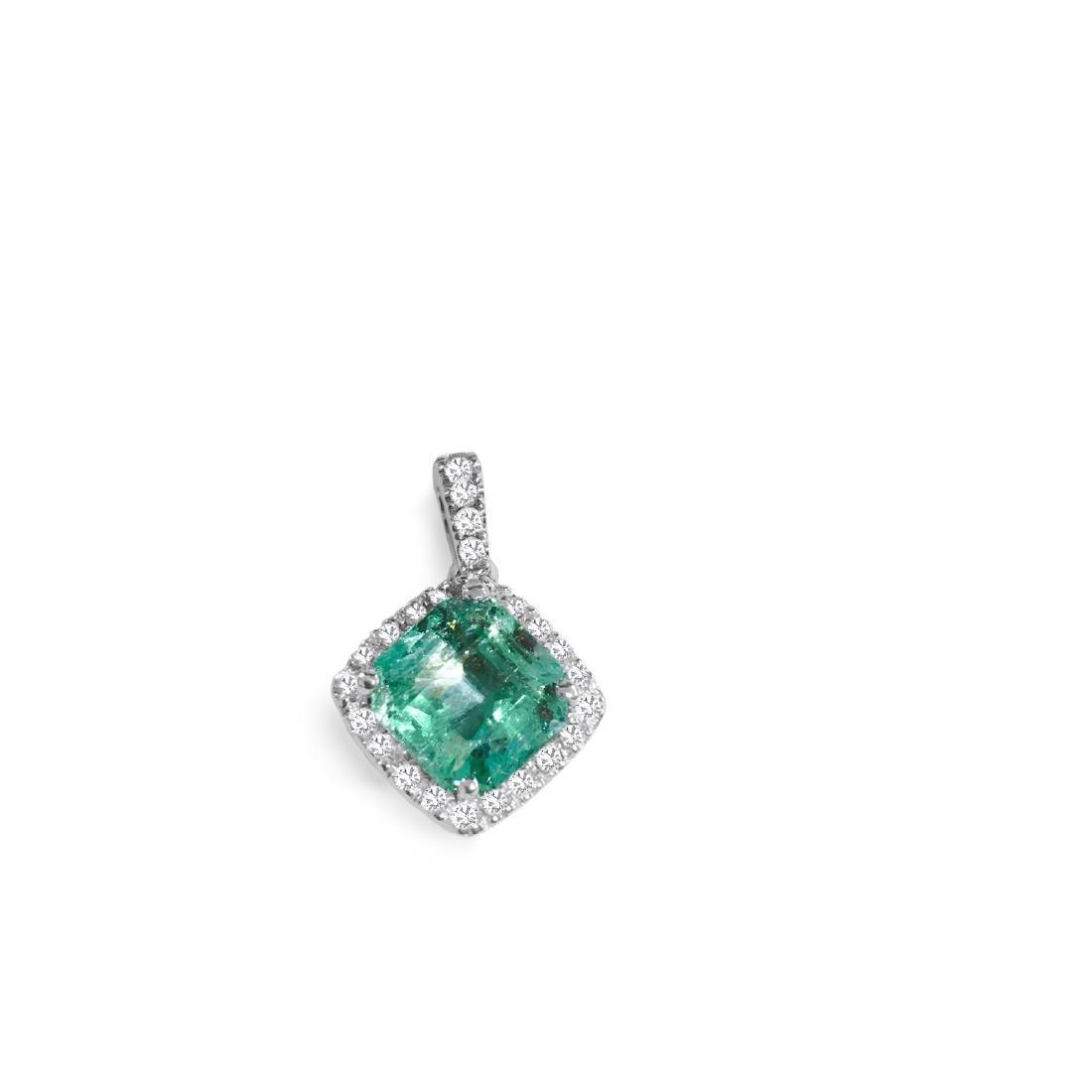 14k Gold, 4.00 Carat Emerald & Diamond Pendant. $12,000