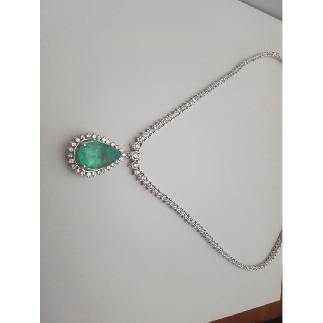 14K Gold, 12ct 100% Natural Colombian Emerald Necklace - 5