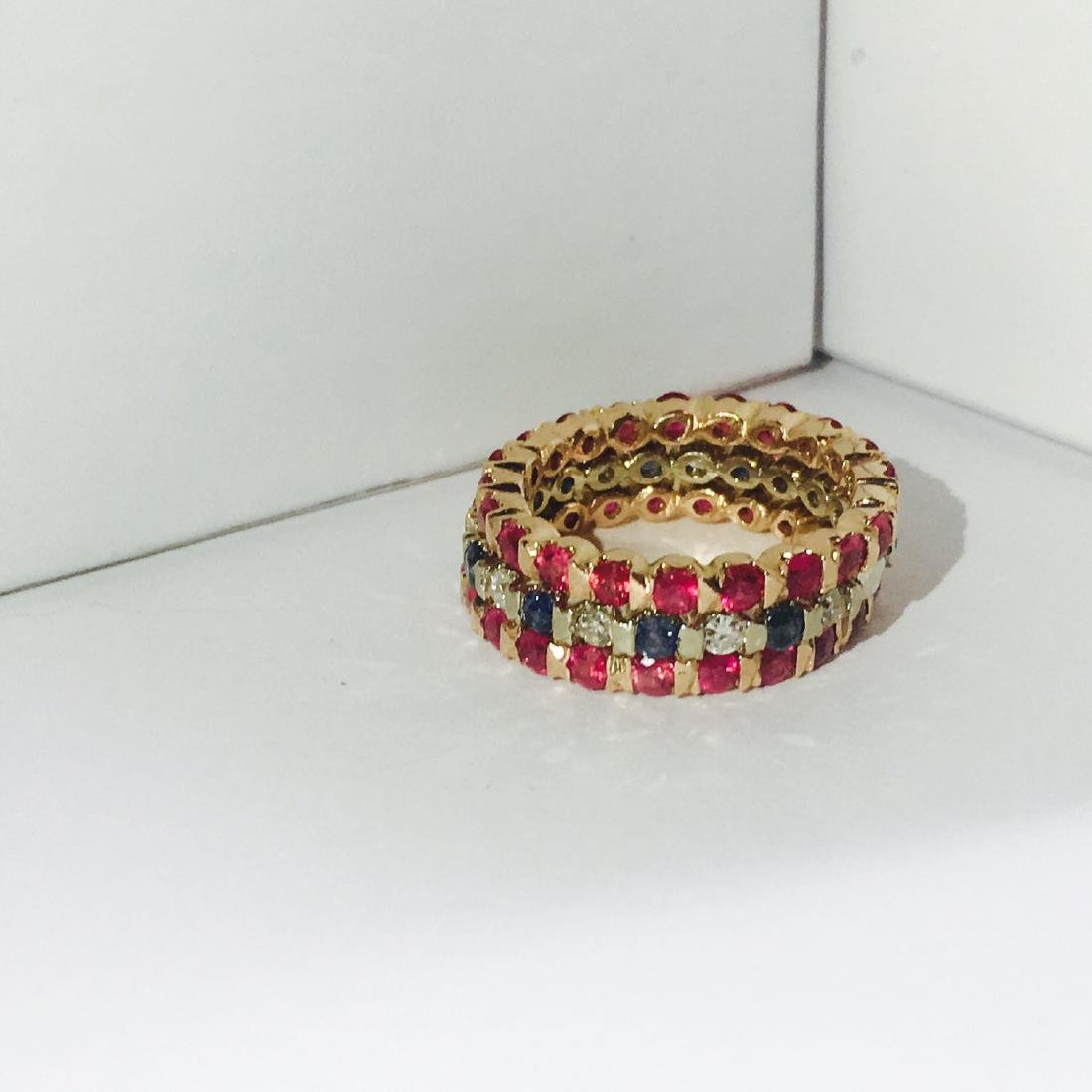 14K Gold. Ruby, Blue Sapphire and Diamond Bands - 2