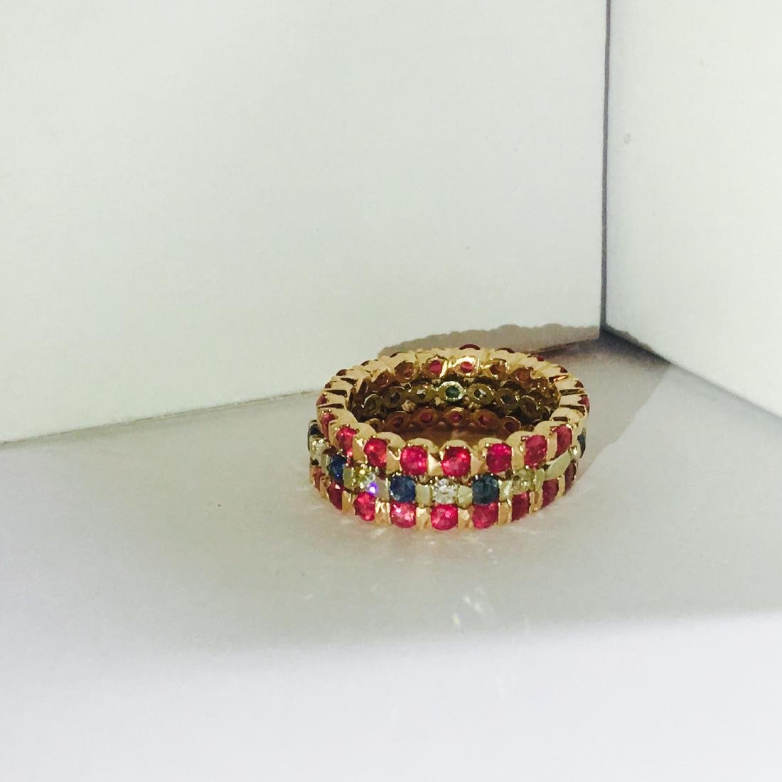 14K Gold. Ruby, Blue Sapphire and Diamond Bands - 3
