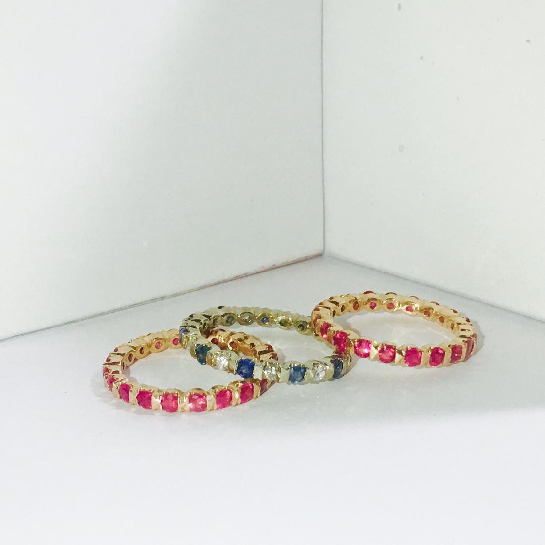 14K Gold. Ruby, Blue Sapphire and Diamond Bands - 4