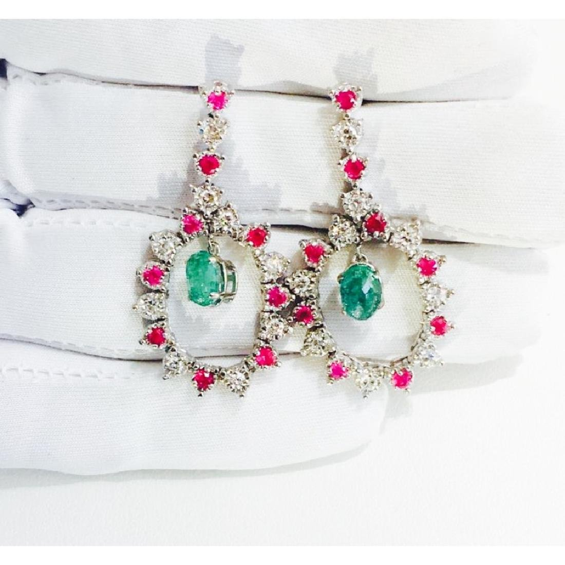 14K; Super Burma Ruby, Emerald & VS-F Diamond earrings