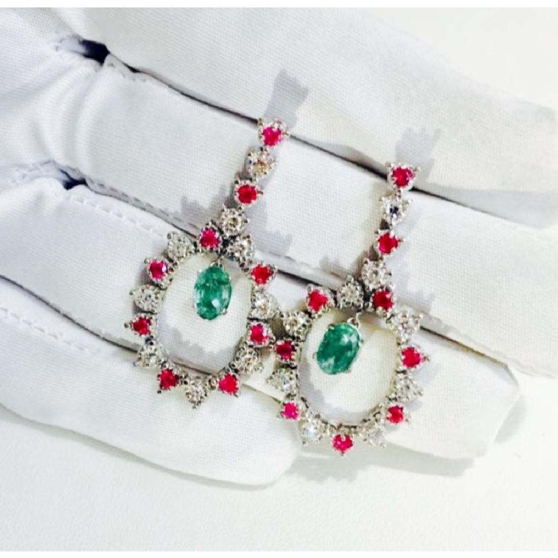 14K; Super Burma Ruby, Emerald & VS-F Diamond earrings - 2